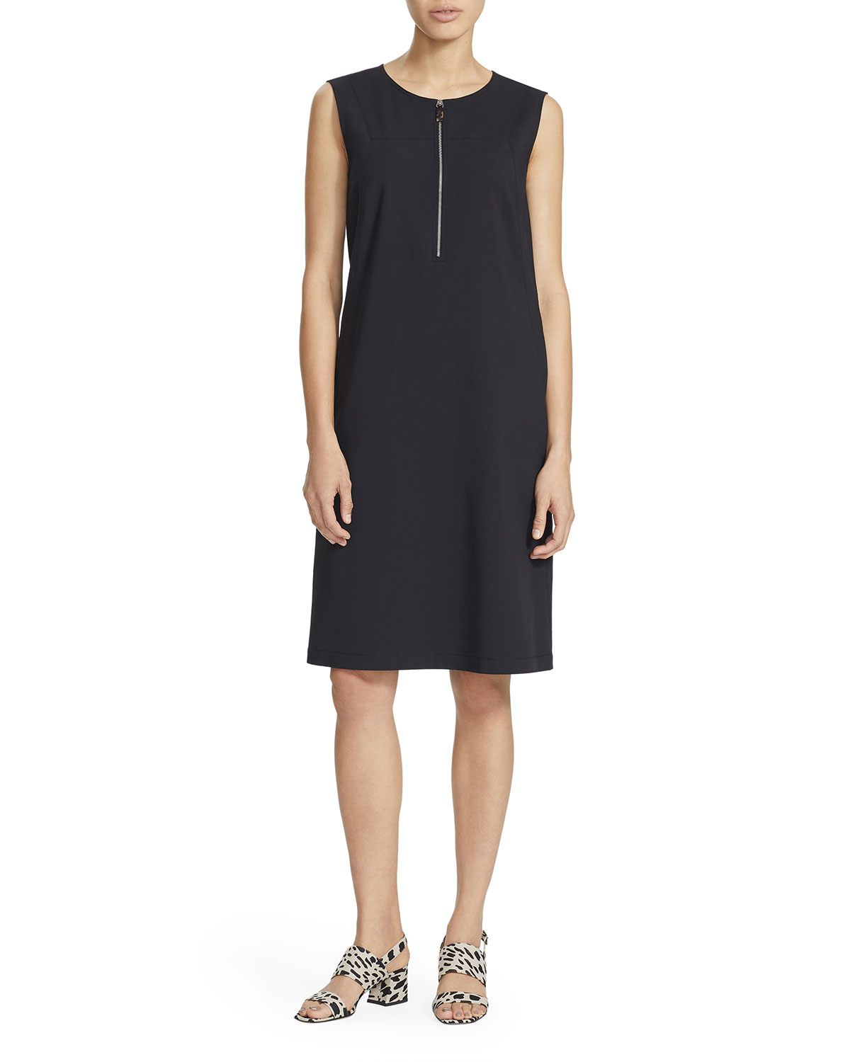 Lafayette 148 New York Audren Sleeveless Zip-Front Shift Dress