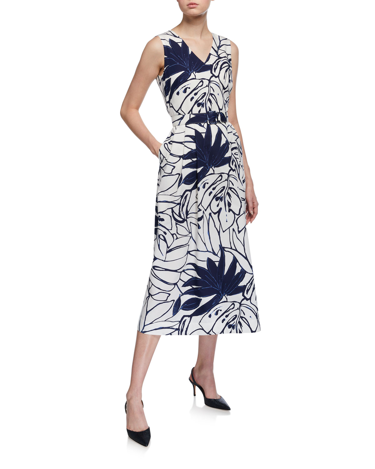 Lafayette 148 New York Plus Size Vienna Porcelain Print Belted Midi Dress