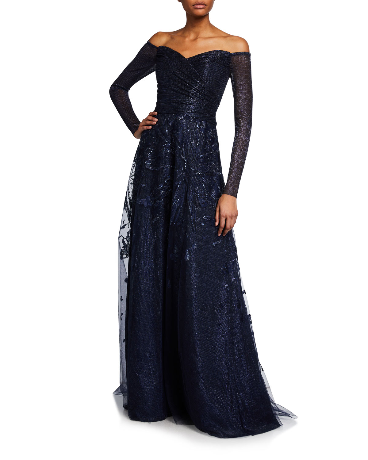 Rene Ruiz Off-the-Shoulder Long-Sleeve Embroidered Gown