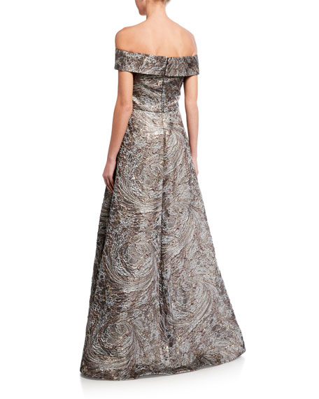 Rene Ruiz Cuffed Off-the-Shoulder Brocade Gown