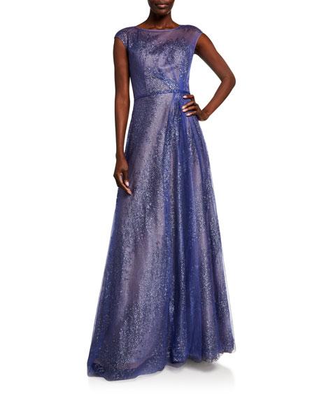 Rene Ruiz Metallic Organza Cap-Sleeve Gown