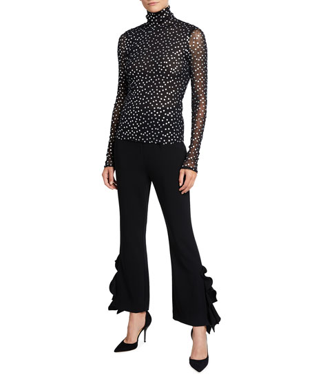 Image 3 of 3: cinq a sept Emily Ruffled Flare Pants