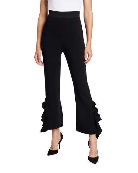 Image 1 of 3: cinq a sept Emily Ruffled Flare Pants
