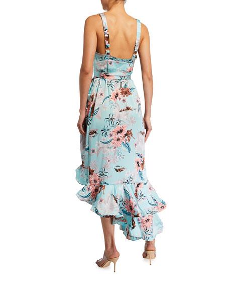 Bronx and Banco Georgia Floral-Print Midi Ruffle Dress