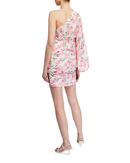 Bronx and Banco Layla Floral Print One-Shoulder Ruched Mini Dress
