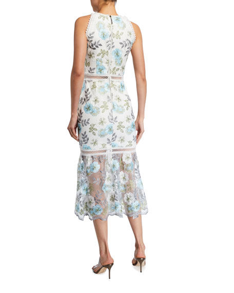 Bronx and Banco Penelope Floral Print Lace-Trim Sleeveless Midi Dress