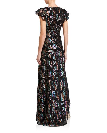 Shoshanna Medianoche Floral Metallic High-Low Dress