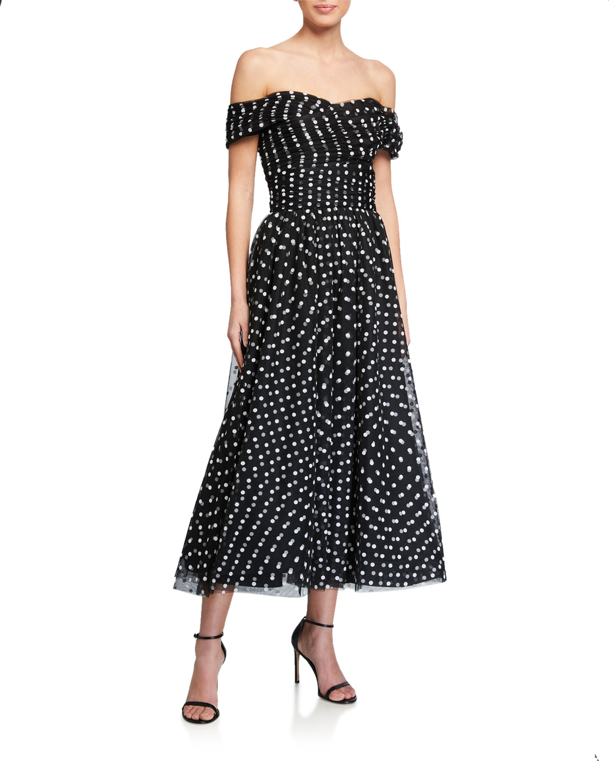 Shoshanna Meraki Off-the-Shoulder Sheer Polka-Dot Tulle Dress