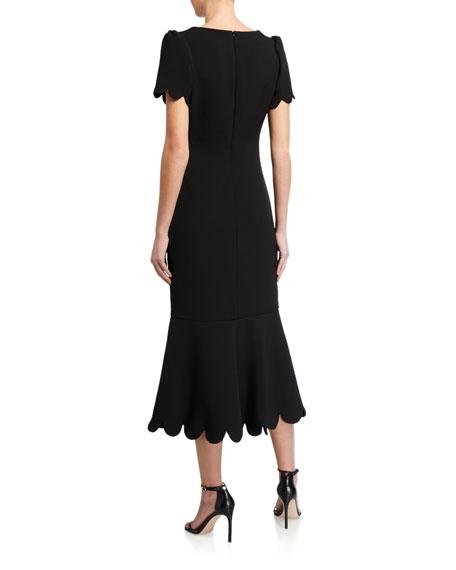 Shoshanna Mirandela Scallop-Edge Midnight Stretch Crepe Midi Dress