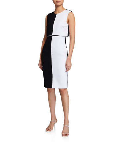 Colorblock Sleeveless Overlay Sheath Dress