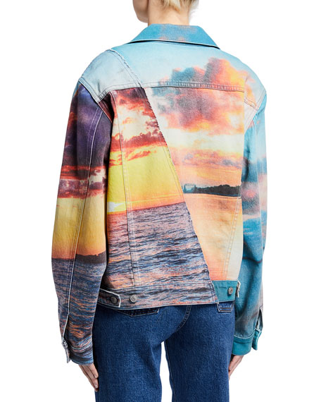 Image 3 of 3: Hudson Landscape Oversized Trucker Jacket