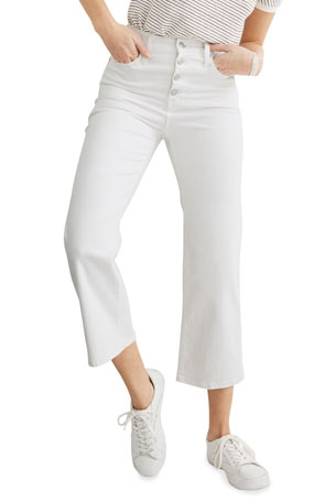 Madewell Slim Wide-Leg Cropped Jeans w/ Button Front