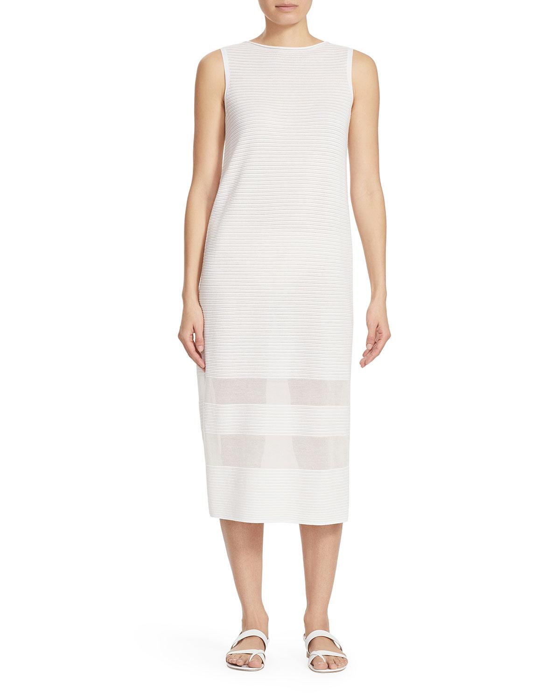 Lafayette 148 New York Sheer Panel Sleeveless Midi Dress