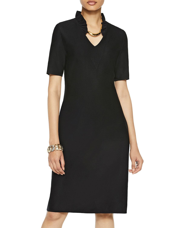 Misook Ruffle-Neck Knit Sheath Dress