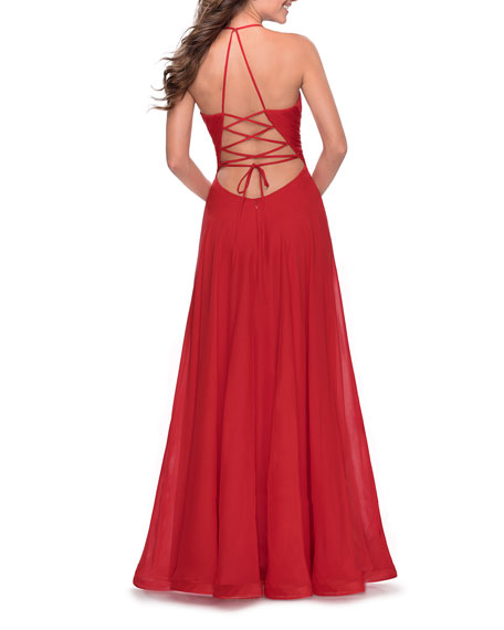 La Femme Deep V-Neck Lace-Up Back Chiffon Gown w/ Slit