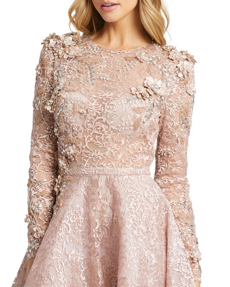 Mac Duggal Embellished Long-Sleeve Floral Lace A-Line Gown