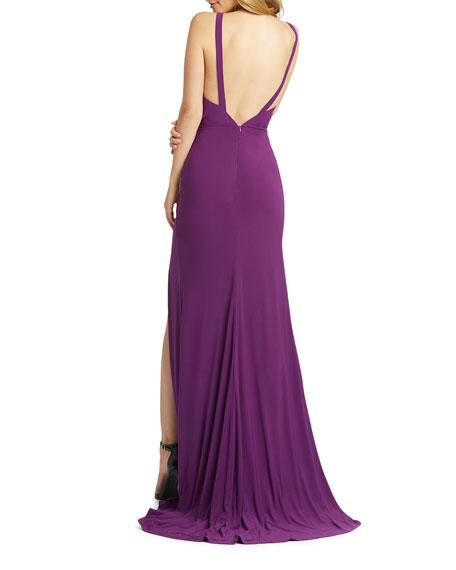Mac Duggal V-Neck Sleeveless Thigh-Slit Jersey Gown