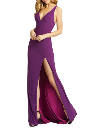 Mac Duggal V-Neck Sleeveless Thigh-Slit Jersey Gown