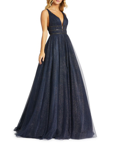 Metallic Tulle Plunging Back Sleeveless Ball Gown