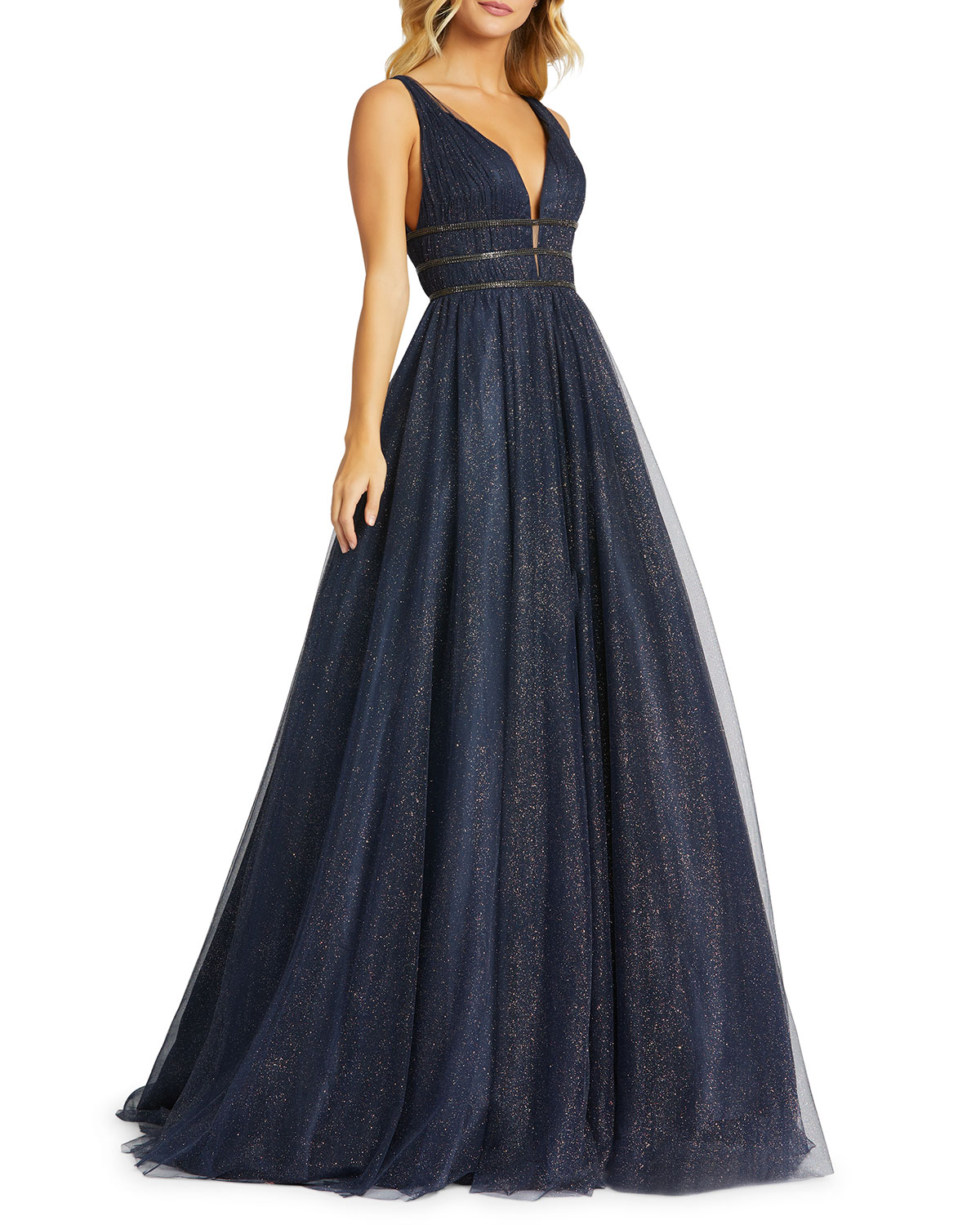 Mac Duggal Metallic Tulle Plunging Back Sleeveless Ball Gown
