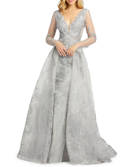 Image 1 of 3: Mac Duggal Embroidered Long-Sleeve Illusion Column Gown w/ Overskirt