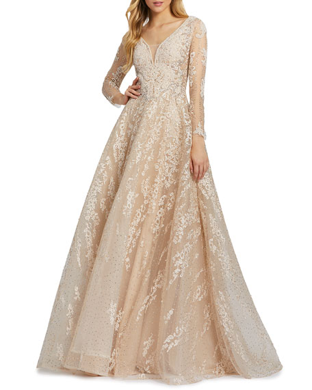 Image 1 of 3: Mac Duggal Long-Sleeve Embroidered A-Line Gown