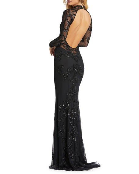 Image 2 of 3: Mac Duggal Sequin Mock-Neck Long-Sleeve 4-Way Stretch Gown