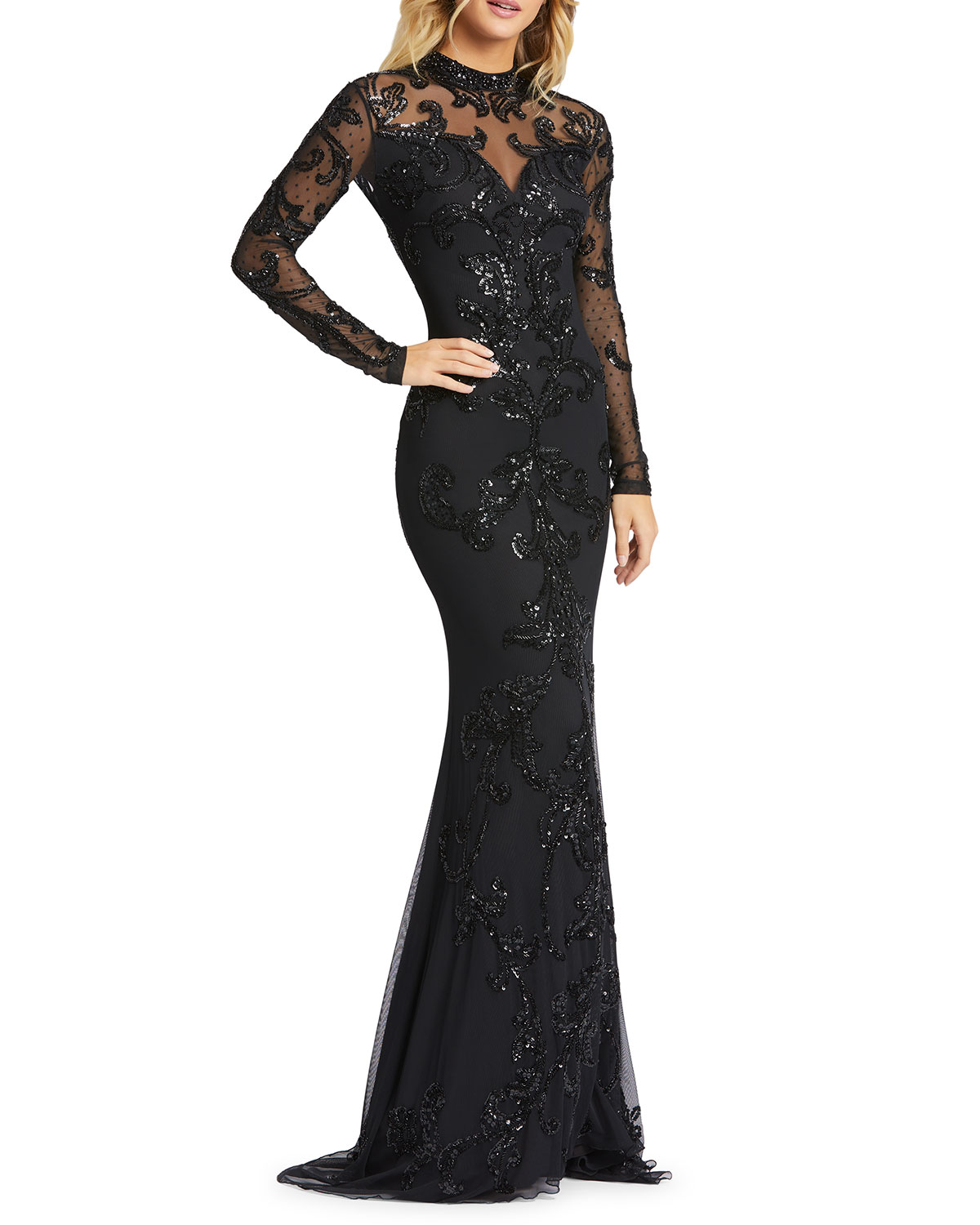Mac Duggal Black Sequin Mock-Neck Long-Sleeve 4-Way Stretch Gown