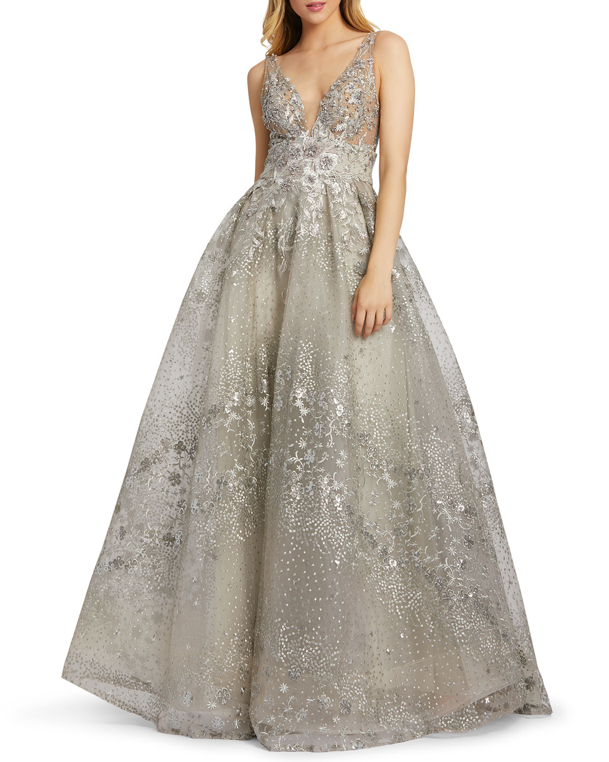 Mac Duggal Floral Embroidered Empire Ball Gown