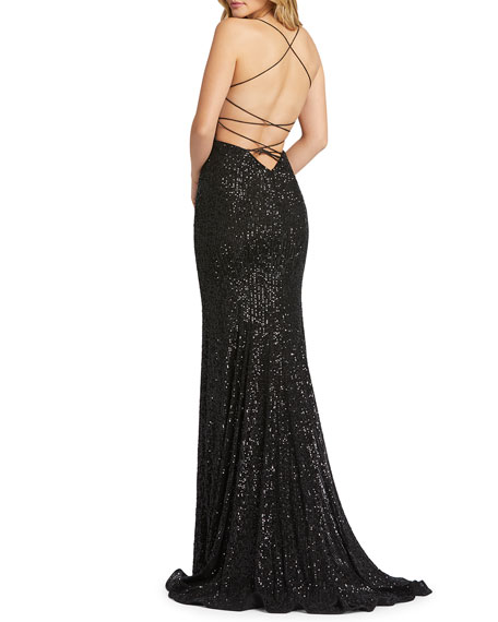 Image 2 of 3: Mac Duggal Sequin Square-Neck Corset Gown