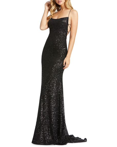 Image 1 of 3: Mac Duggal Sequin Square-Neck Corset Gown