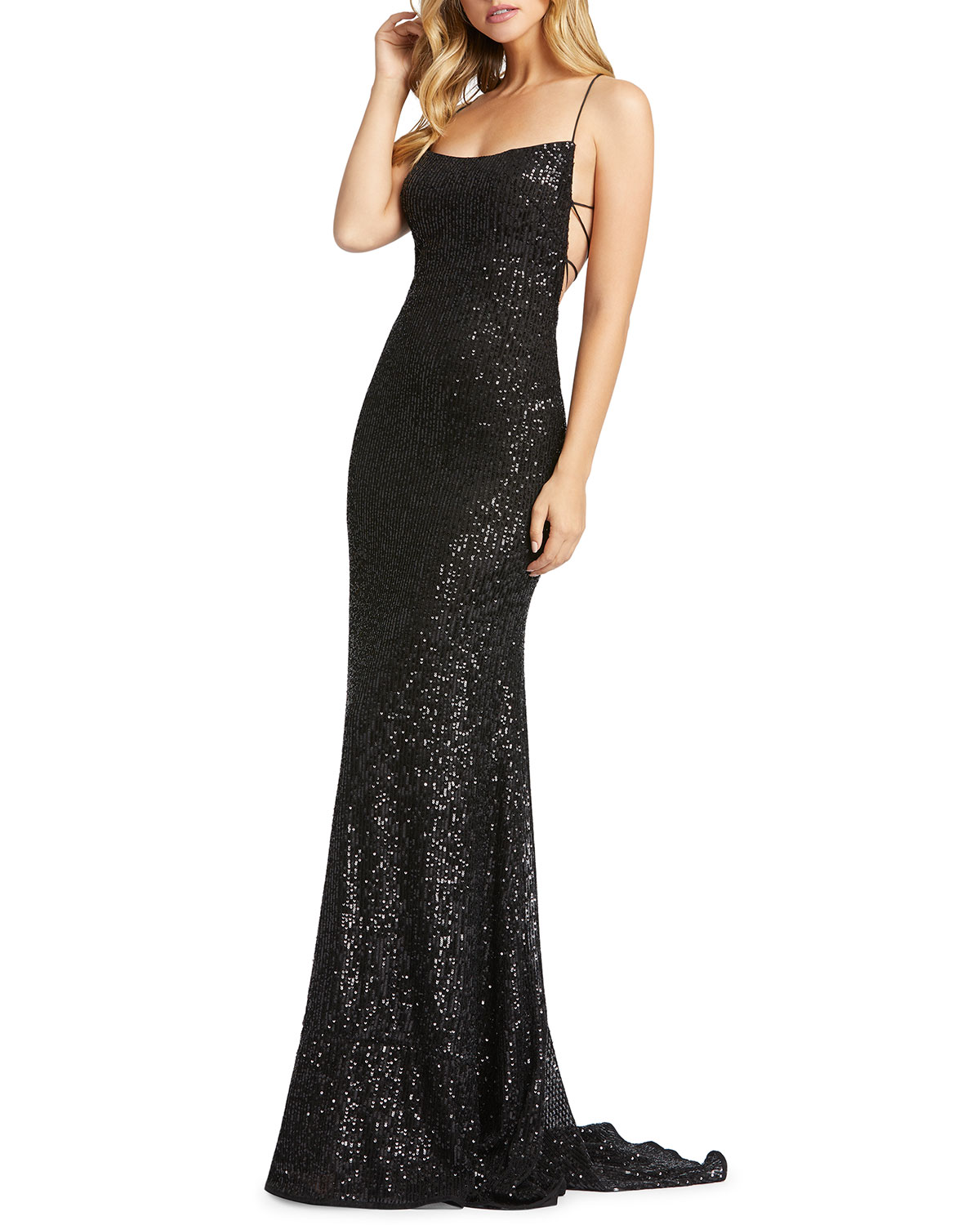 Mac Duggal Sequin Square-Neck Corset Gown