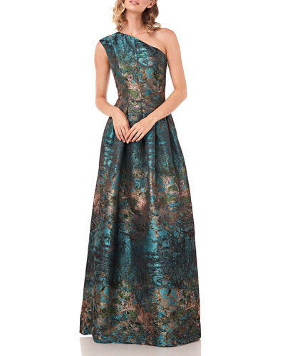 Cara Abstract Jacquard One-Shoulder Gown