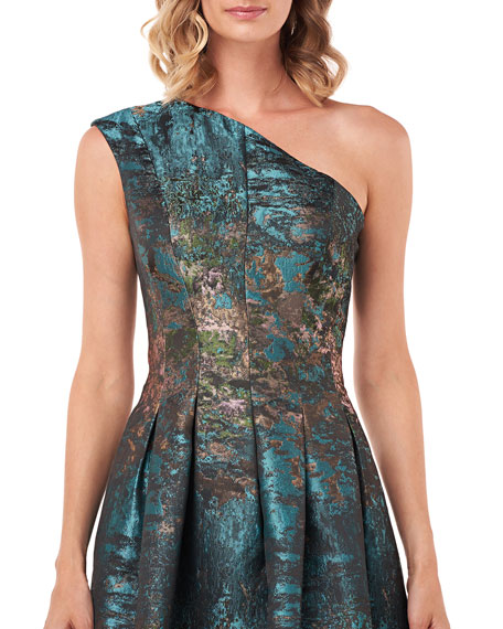 Kay Unger New York Cara Abstract Jacquard One-Shoulder Gown