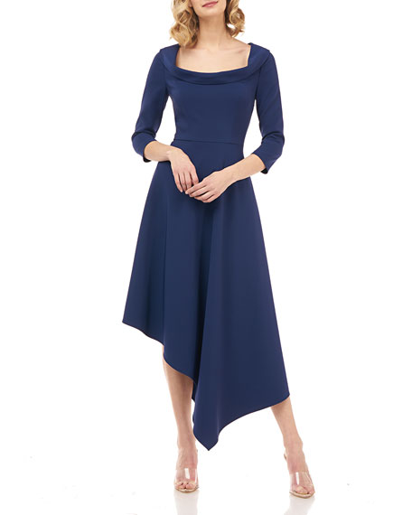 Kay Unger New York Arianna 3/4-Sleeve Asymmetrical Stretch Crepe Dress