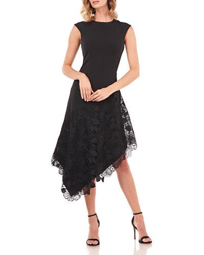 Emily Sleeveless Asymmetrical Dress w/ Lace Applique