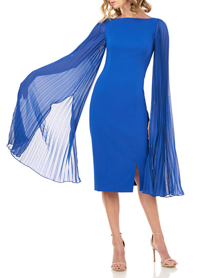 Kay Unger New York Angelia Stretch Crepe Sheath Dress w/ Pleated Chiffon Sleeves
