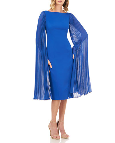 Angelia Stretch Crepe Sheath Dress w/ Pleated Chiffon Sleeves