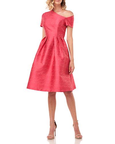 Bianca Textured Jacquard Asymmetrical Dress