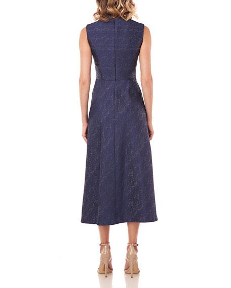 Kay Unger New York Belinda Textured Jacquard Sleeveless Midi Dress