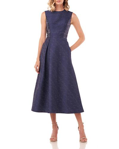 Belinda Textured Jacquard Sleeveless Midi Dress