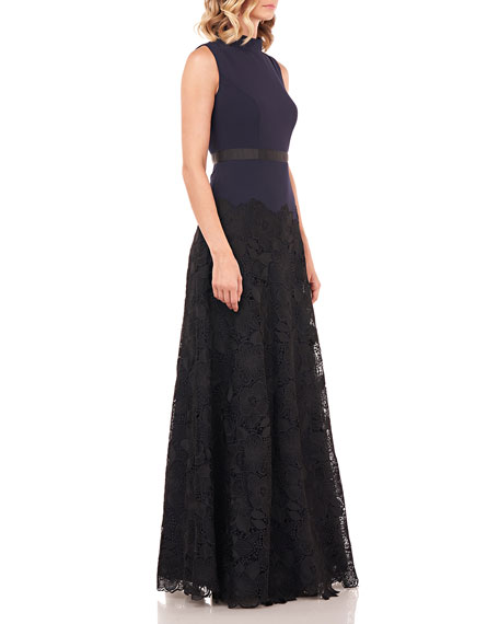 Kay Unger New York Ellie Mock-Neck Sleeveless Stretch Crepe Gown w/ Lace