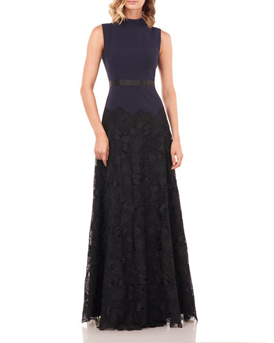 Ellie Mock-Neck Sleeveless Stretch Crepe Gown w/ Lace