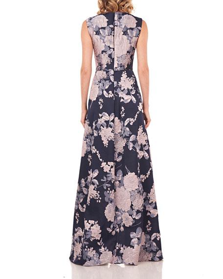 Kay Unger New York Roxane Floral Jacquard Walk-Thru Jumpsuit w/ Asymmetrical Skirt