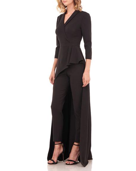 Kay Unger New York Alicia 3/4-Sleeve Tuxedo Walk-Thru Overlay Jumpsuit