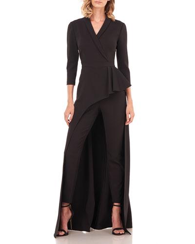 Alicia 3/4-Sleeve Tuxedo Walk-Thru Overlay Jumpsuit
