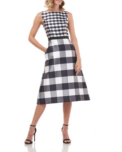 Pauline Gingham Mikado Sleeveless Midi Dress