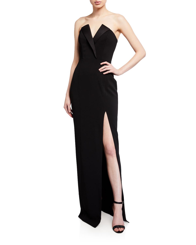 Jay Godfrey Sylvia Tuxedo Bustier Column Gown