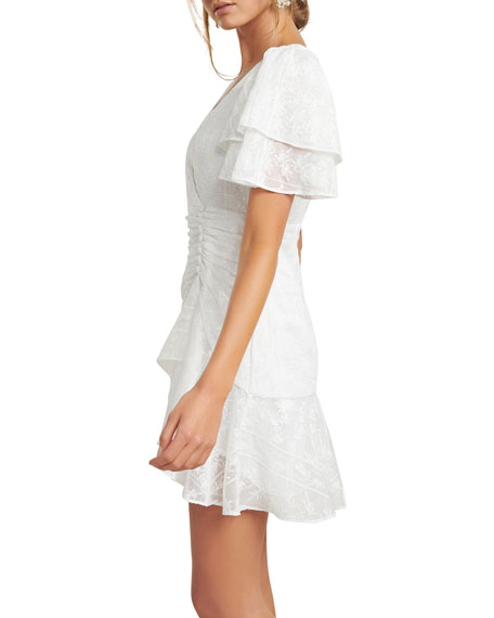 Image 2 of 5: Ever New Embroidered Wing-Sleeve Shirred Mini Dress