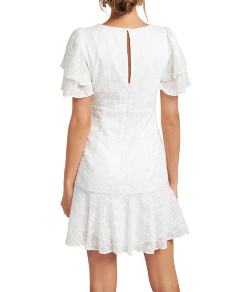 Image 3 of 5: Ever New Embroidered Wing-Sleeve Shirred Mini Dress